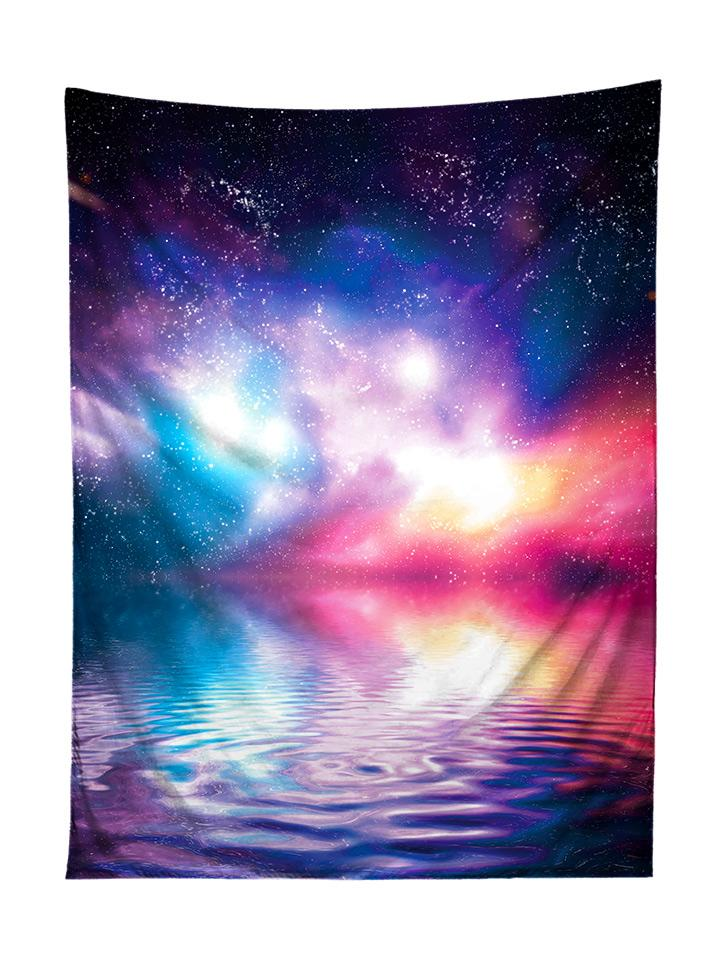 Vertical hanging view of all over print purple, blue & pink space ripple water galaxy tapestry by GratefullyDyed Apparel.