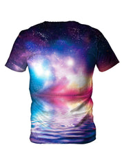 Back view of all over print psychedelic water galaxy t shirt by Gratefully Dyed Apparel.