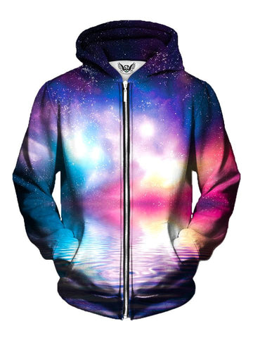 Men's purple, pink, blue & white space ripple zip-up hoodie front view.