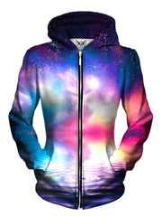 Front view of women's all over print water galaxy zip up hoody by Gratefully Dyed Apparel.