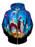 Amazing Blue Space Zip Up Hoodie Front