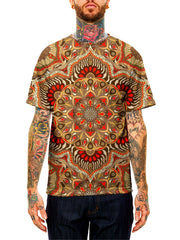 Model wearing GratefullyDyed Apparel brown & orange mandala unisex t-shirt.