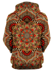 Rear of women's all over print orange & brown mandala hoody.