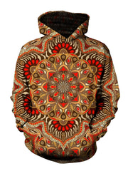 Men's orange & brown retro mandala pullover hoodie front view.