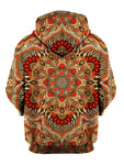Rear of brown & orange retro mandala zip-up hoody.