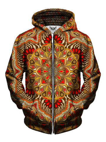 Men's brown & orange retro mandala zip-up hoodie front view.