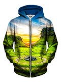 Men's sunset over zen rock garden zip-up hoodie front view.