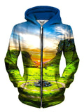 Front view of women's all over print nature zip up hoody by Gratefully Dyed Apparel.