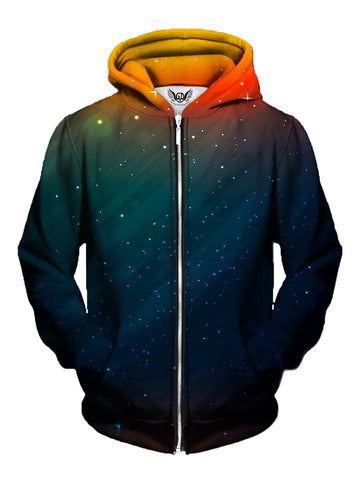 Men's orange & blue sunset galaxy zip-up hoodie front view.
