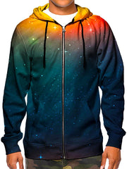Model wearing GratefullyDyed Apparel psychedelic orange & blue sunset galaxy hoodie.