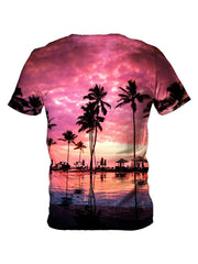 Back view of all over print psychedelic coconut beach t shirt by Gratefully Dyed Apparel.