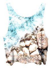 All over print psychedelic tropical nature cropped top by Gratefully Dyed Apparel back view.