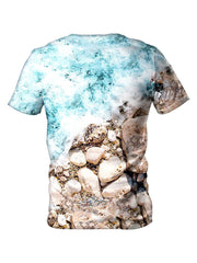Back view of all over print psychedelic island beach bum t shirt by Gratefully Dyed Apparel.