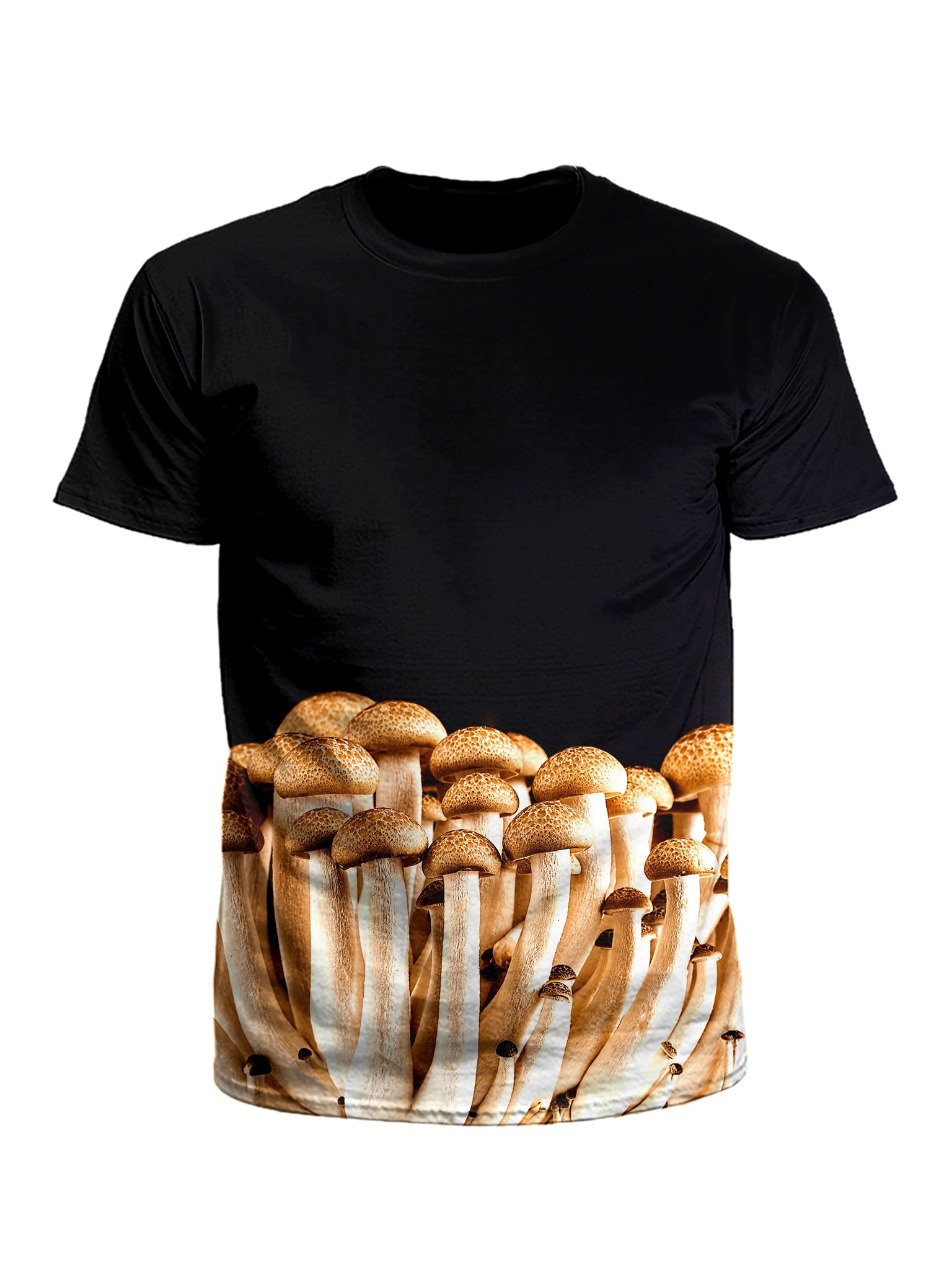 Men's black & brown mushroom unisex t-shirt front view.