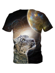 Back view of all over print psychedelic animal galaxy t shirt by Gratefully Dyed Apparel.