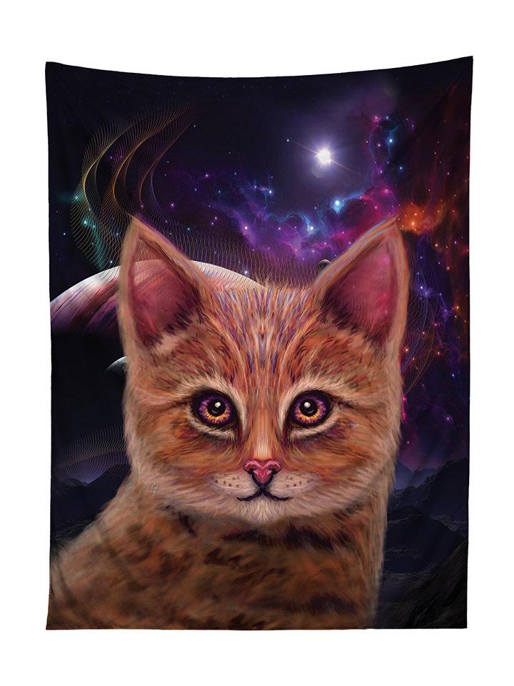 Vertical hanging view of all over print black & brown space kitty cat galaxy tapestry by GratefullyDyed Apparel.