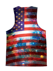 Psychedelic all over print 4th of July space tank by GratefullyDyed Apparel back view.