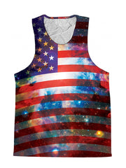 Space White And Blue American Flag Galaxy Premium Tank Top