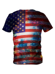 Back view of all over print psychedelic space patriot t shirt by Gratefully Dyed Apparel.