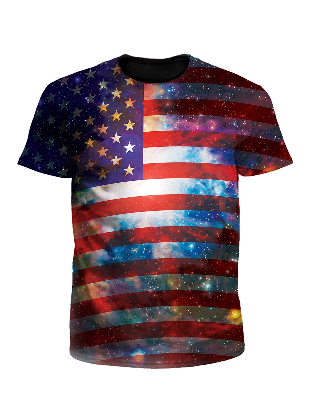 Space White And Blue American Flag Galaxy Unisex T-Shirt