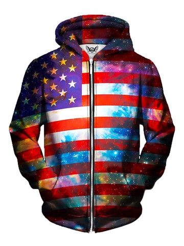 Men's red, white & blue american flag galaxy zip-up hoodie front view.