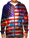 Model wearing GratefullyDyed Apparel psychedelic American flag galaxy zip-up hoodie.