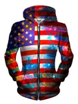 Front view of women's all over print 4th of July space zip up hoody by Gratefully Dyed Apparel.