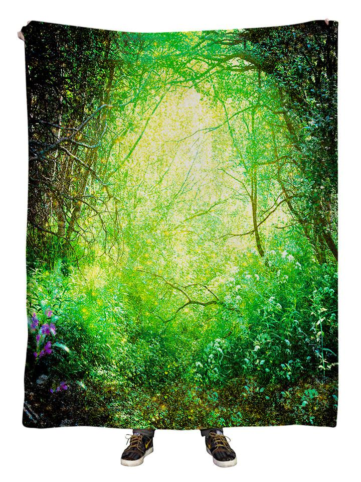 Hanging view of all over print green spring forest blanket by GratefullyDyed Apparel.