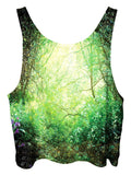 All over print psychedelic nature cropped top by Gratefully Dyed Apparel back view.