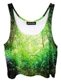Trippy front view of GratefullyDyed Apparel green enchanted forest crop top.