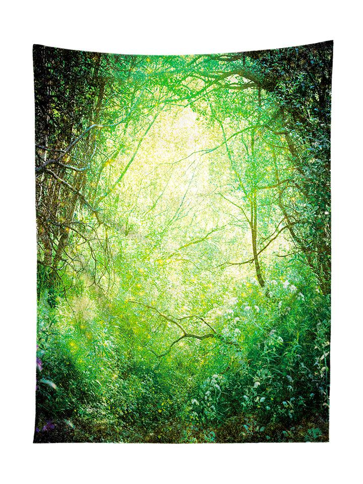 Vertical hanging view of all over print green enchanted forest tapestry by GratefullyDyed Apparel.