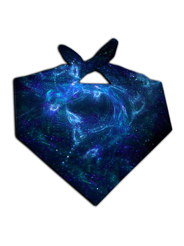 All over print black & blue spirit galaxy bandana by GratefullyDyed Apparel tied neck scarf view.