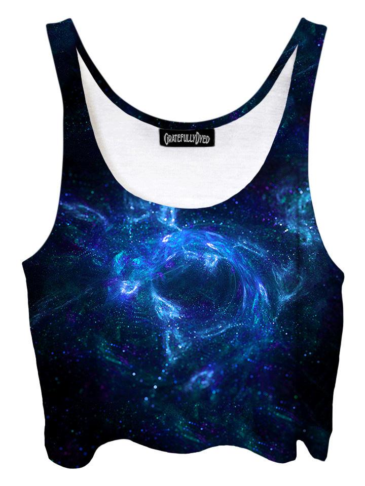 Trippy front view of GratefullyDyed Apparel black & blue spirit galaxy crop top.