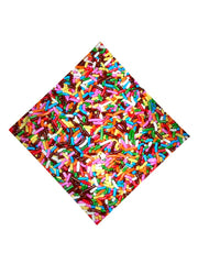 Trippy Gratefully Dyed Apparel rainbow chocolate sprinkles bandana flat view.