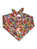 All over print rainbow chocolate sprinkles bandana by GratefullyDyed Apparel tied neck scarf view.