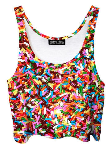Trippy front view of GratefullyDyed Apparel rainbow chocolate sprinkles crop top.
