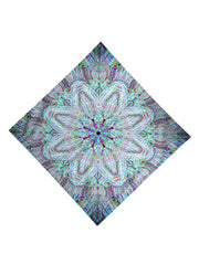 Trippy Gratefully Dyed Apparel electric rainbow mandala bandana flat view.