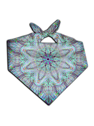 All over print electric rainbow mandala bandana by GratefullyDyed Apparel tied neck scarf view.