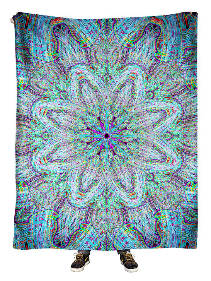 Hanging view of all over print electric rainbow mandala blanket by GratefullyDyed Apparel.
