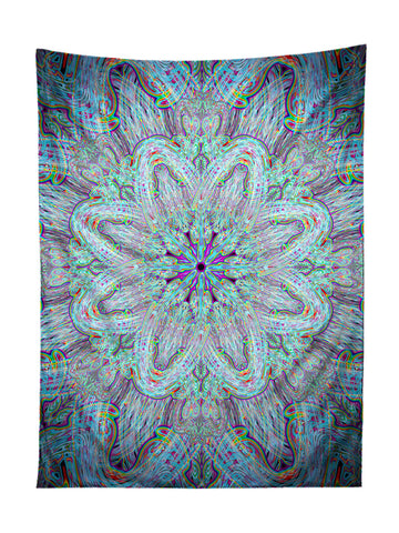 Vertical hanging view of all over print electric rainbow mandala tapestry by GratefullyDyed Apparel.