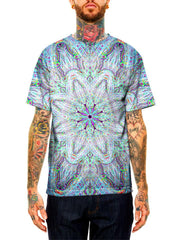 Model wearing GratefullyDyed Apparel electric rainbow mandala unisex t-shirt.