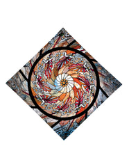 Trippy Gratefully Dyed Apparel stained glass mandala bandana flat view.