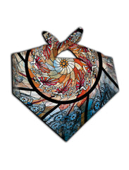 All over print stained glass mandala bandana by GratefullyDyed Apparel tied neck scarf view.