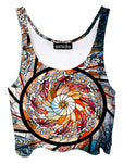 Trippy front view of GratefullyDyed Apparel white, orange & red stained glass mandala crop top.