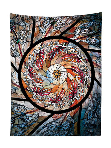 Vertical hanging view of all over print red, orange & white stained glass mandala tapestry by GratefullyDyed Apparel.
