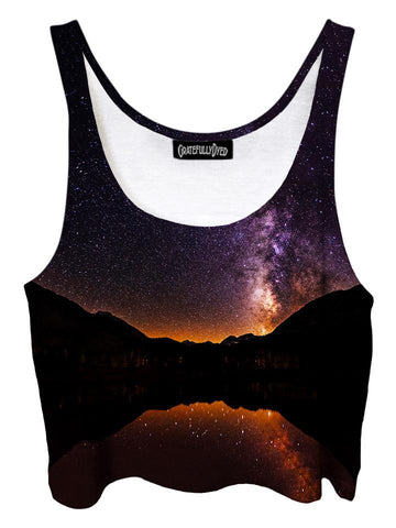 Trippy front view of GratefullyDyed Apparel purple & black mountain galaxy crop top.
