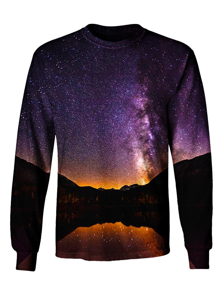 Gratefully Dyed Apparel purple & black mountain galaxy unisex long sleeve front view.