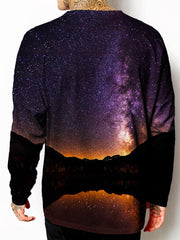 Model back view of all over print psychedelic space nature unisex longsleeve.