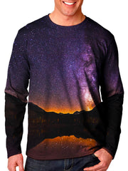 Front view of model wearing Gratefully Dyed Apparel mountain galaxy unisex long sleeve.