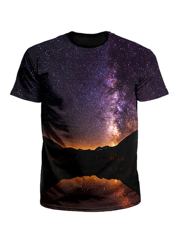 Starlit Valley Mountain Galaxy Unisex T-Shirt